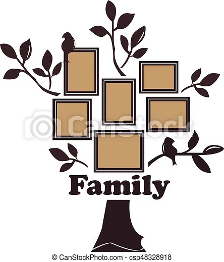 Family tree with birds Vector illustration of a family tree of