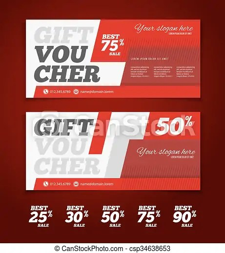 Gift or discount voucher template with modern design, clipart