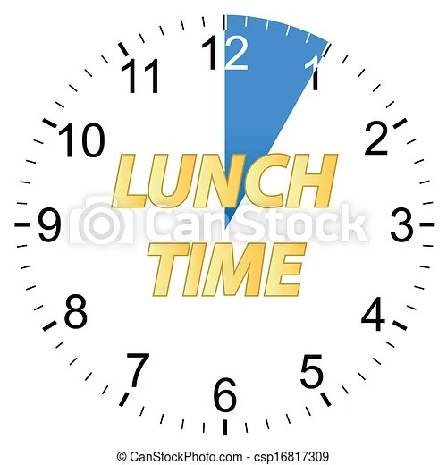 Lunch time clock Clip Art and Stock Illustrations 862 Lunch time