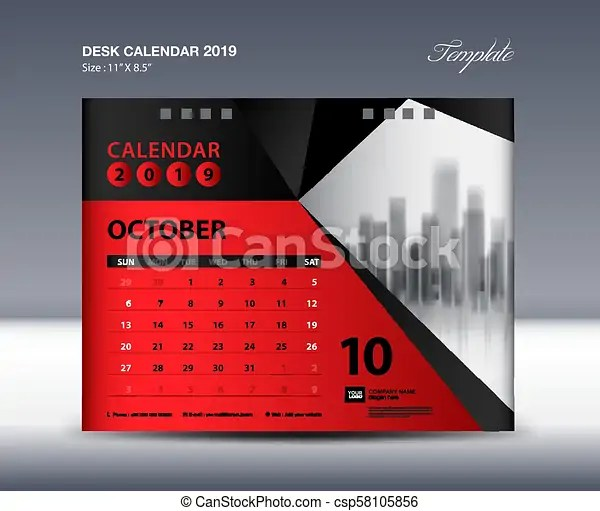 October desk calendar 2019 template, week starts sunday, stationery