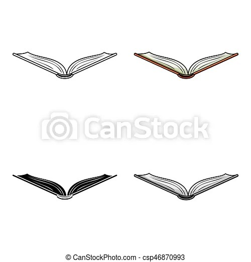 Opened book icon in cartoon style isolated on white eps vectors - opened book