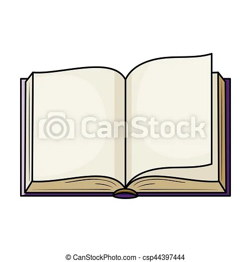 Opened book icon in cartoon style isolated on white background - opened book