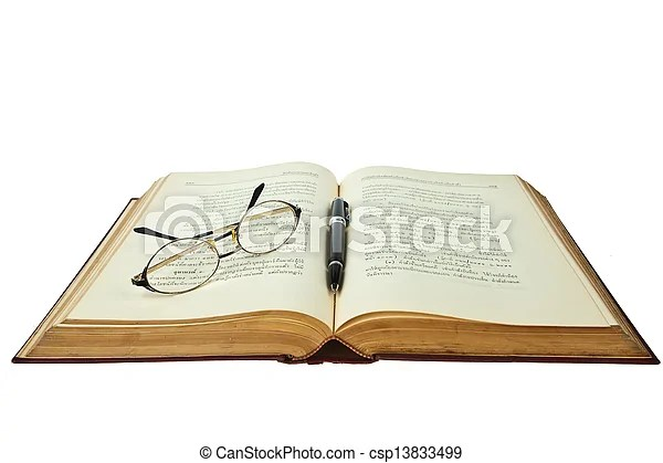 Opened book with eye glasses and pen isolated on white background - opened book