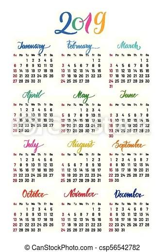 full year calendar 2019 - Pinarkubkireklamowe