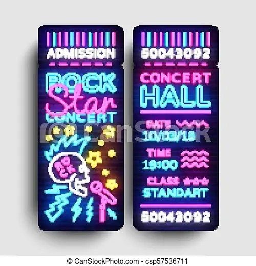 Rock concert ticket design template in modern trend style rock star