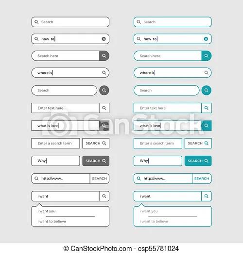 Set of search bar design elements vector illustration Set of
