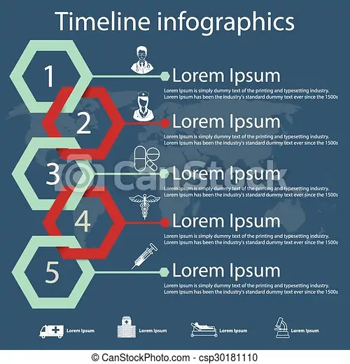Timeline infographics with medical icons Time line infographics - medical timeline template