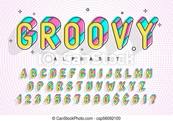 Trendy display font popart design, alphabet, letters and numbers