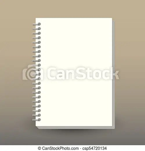 Vector cover of diary or notebook with ring spiral binder - format