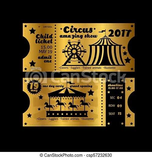 Vintage party invitation retro circus carnival ticket template