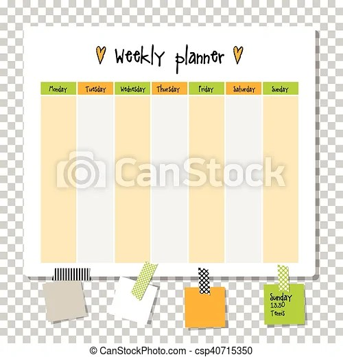 Weekly planner note paper, notes, to do list organiser clipart - note paper template