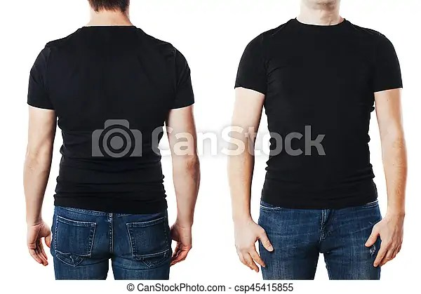 Young man with blank t-shirt template - pocket t shirt template