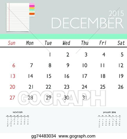 Vector Art - 2015 calendar, monthly calendar template for december - december monthly calender