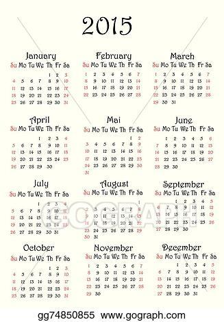 Vector Illustration - 2015 year calendar Stock Clip Art gg74850855