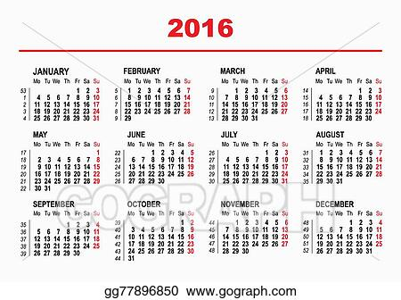 Vector Clipart - 2016 calendar template Vector Illustration