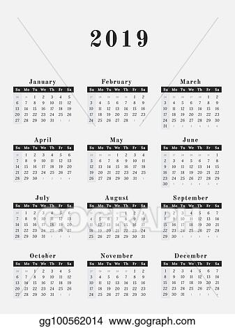 EPS Vector - 2019 year calendar vertical design Stock Clipart