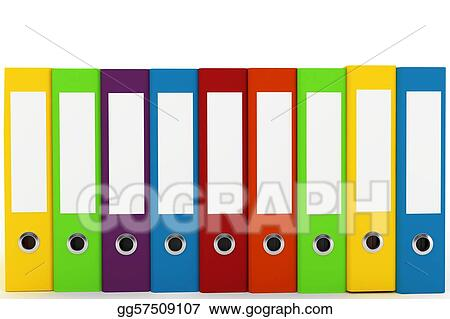 Stock Illustration - 3d binders with blank labels Clipart Drawing