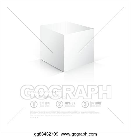 Vector Clipart - 3d cube box on white background with reflection