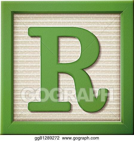 Vector Art - 3d green letter block r EPS clipart gg81289272 - GoGraph