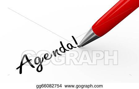 Stock Illustration - 3d pen writing agenda Clip Art gg66082754