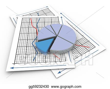 Stock Illustration - 3d pie chart on graph paper Clipart Drawing - 3d graph paper