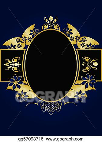 Vector Clipart - A gold floral design with room for text on a royal