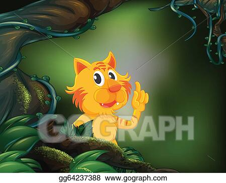 Vector Illustration - A tiger beside a big tree in the rainforest