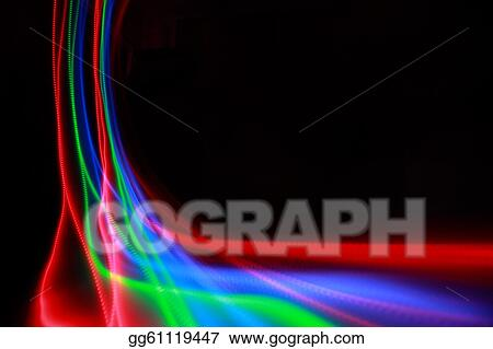 Drawings - Abstract colorful lines on black background, blue, green