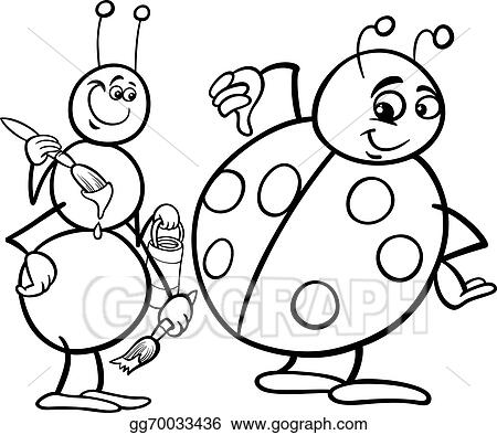 Vector Illustration - Ant and ladybug coloring page EPS Clipart