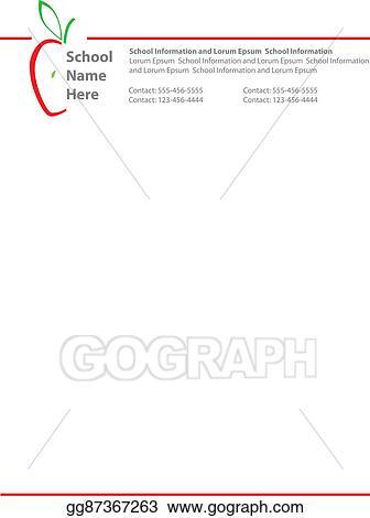 Stock Illustration - Apple logo school letterhead Clipart Drawing