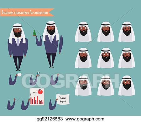 EPS Vector - Arab character for scenes parts of body template for
