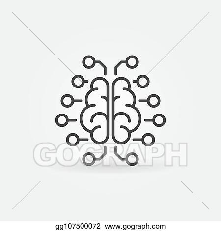 Vector Clipart - Artificial intelligence brain vector outline icon