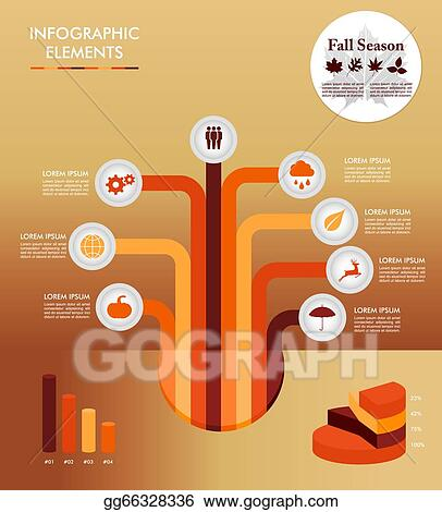 Vector Art - Autumn season infographic illustration template