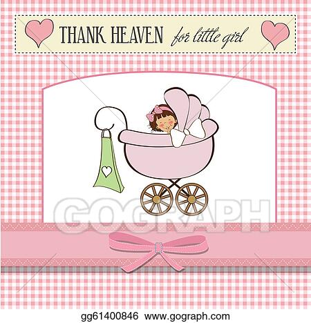 Vector Art - Baby girl announcement card  Clipart Drawing