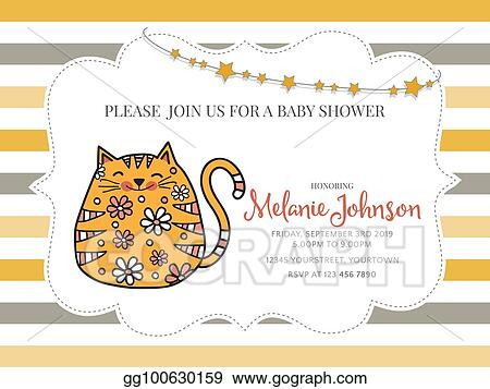 Clip Art Vector - Baby shower card template with fat doodle cat