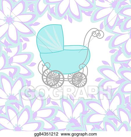 Clip Art Vector - Baby shower girl announcement, baby carriage