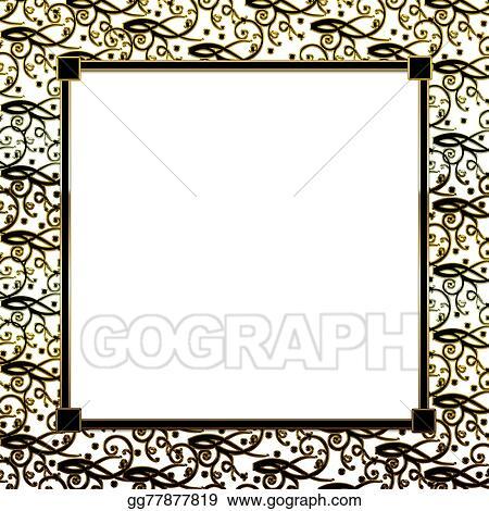 Clipart - Background gold black border Stock Illustration