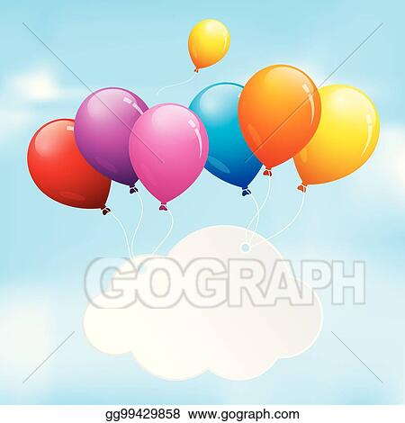 Vector Art - Balloons floating in a cloudy sky Clipart Drawing
