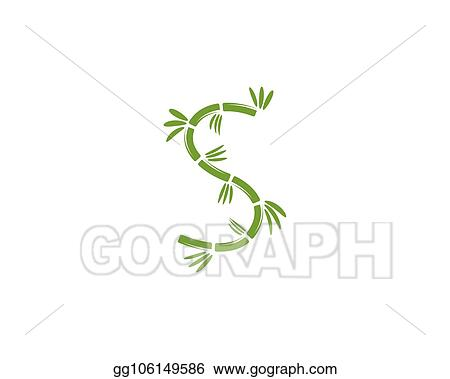 Vector Stock - Bamboo logo with green leaf for your icon vector