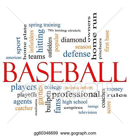 Drawings - Baseball word cloud concept Stock Illustration