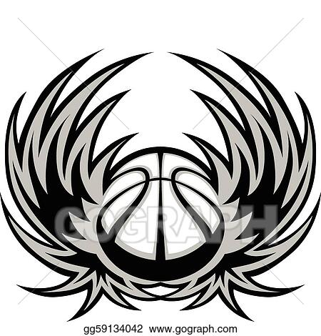 Vector Illustration - Basketball template with wings Stock Clip Art - black and white basketball template