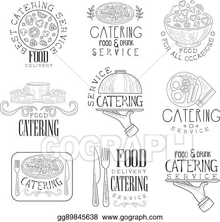 Vector Art - Best catering service set of hand drawn black and white