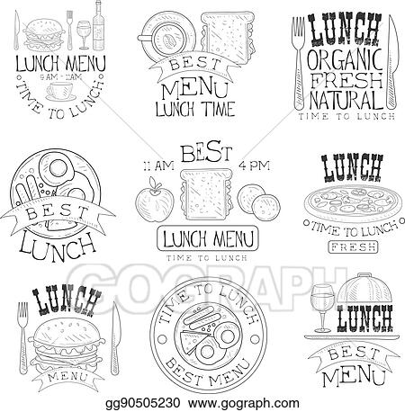 Vector Illustration - Best in town organic lunch menu set of hand