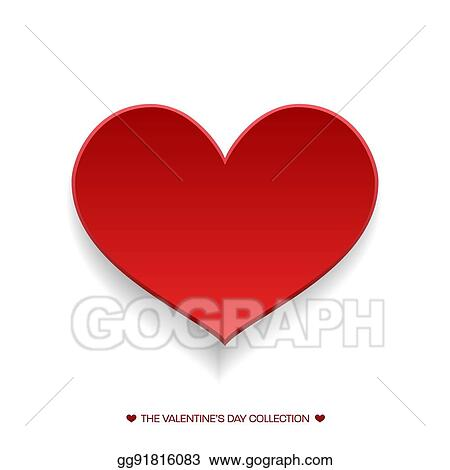 Vector Stock - Big red heart isolated on transparent background - 's day party invitation