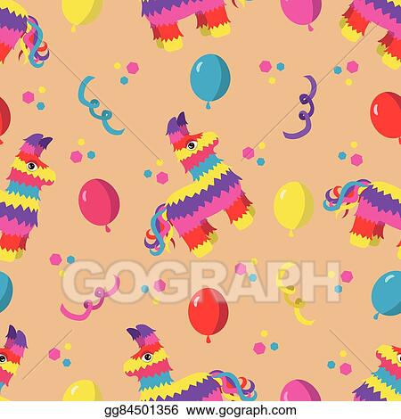 Vector Illustration - Birthday party seamless pattern with colorful