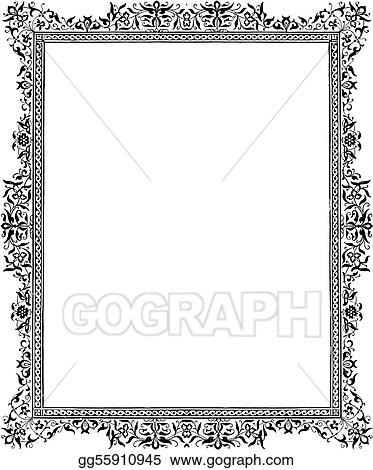 Stock Illustration - Black antique floral border Clipart - black border background