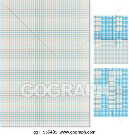 Clip Art Vector - Blank lined page vector template with folded - lined page