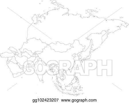 Clip Art Vector - Blank political outline map of asia continent