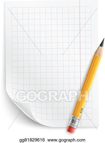 EPS Vector - Blank sheet of paper with grid and pencil Stock