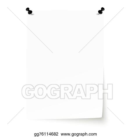 Vector Clipart - Blank sheet of paper with pins and lifted corner